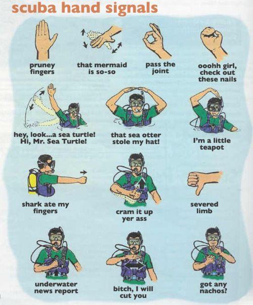 scuba wrong hand signals